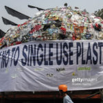JAKARTA, INDONESIA - JULY 21: Environmental activists march to protest single-use plastics alongside 4-meter-tall Anglerfish plastic monsters made from various plastic wastes along MH Thamrin road in Jakarta, Indonesia on July 21, 2019. The parade aimed to encourage the public to stop using single-plastic and urged the government to immediately stop importing waste from abroad. (Photo by Eko Siswono Toyudho/Anadolu Agency via Getty Images)